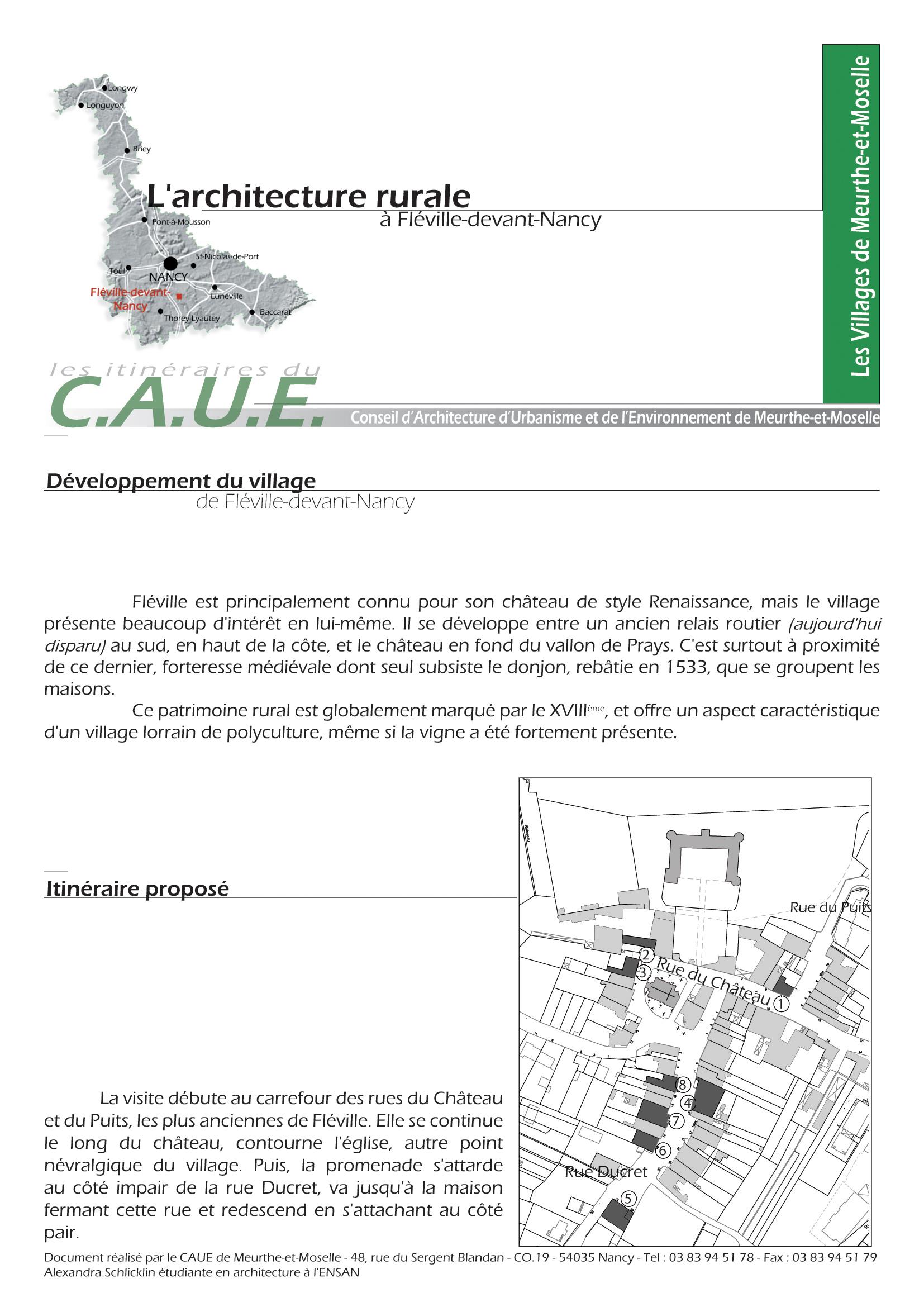 Itinéraire de découverte du patrimoine, Fléville-lès-Nancy, CAUE 54